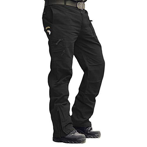 Menargo Men's Tactical Pants Outdoor Workout Cargo Pants Men Rip-Stop Work Pants for Men with Multiple-Pockets (Black 32)