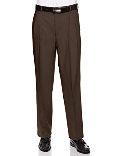 Mens Pleated Front Dress Pants – Wool Blend Long Formal Pants for Men, Made in USA Brown 42 Short