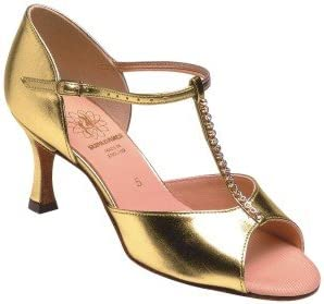 1029 Ladies Sandal with a 2.5 Flared Heel in Gold Co-ag