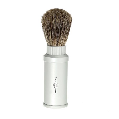Matte Silver Badger Travel Shave Brush by Edwin Jagger by Edwin Jagger