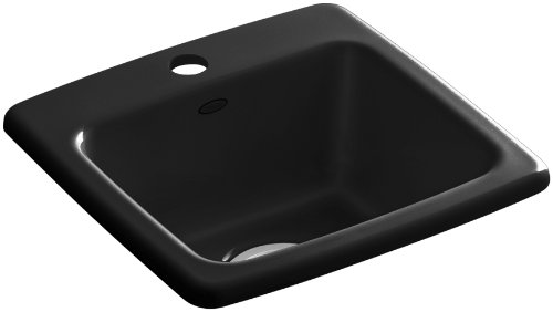 KOHLER K-6015-1-7 Gimlet Self-Rimming Entertainment Sink, Black Black Self Rimming Bar Sink