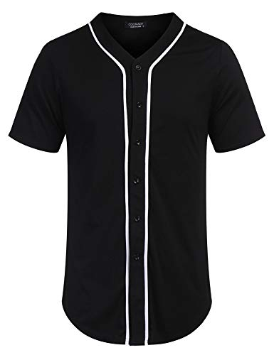 COOFANDY Men's Baseball Team Jersey Button Down Shirt Short Sleeve Top Black Black Baseball Jersey Shirt