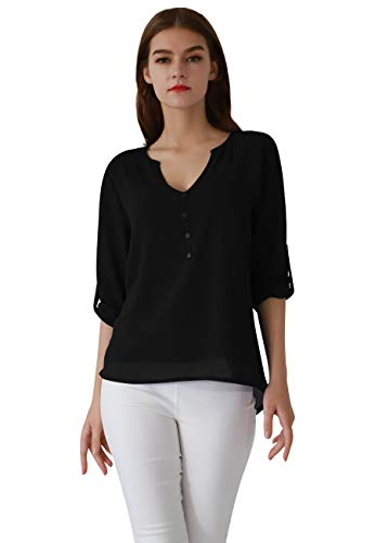 OMZIN Women's Casual Chiffon Summer Blouse Cuffed Sleeve Top Shirts Black 2XL