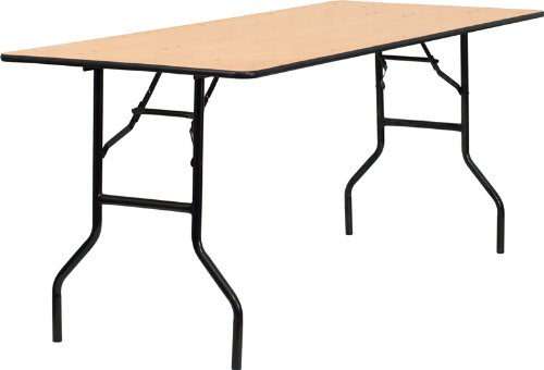 """Flash Furniture 30"""" x 72"""" Rectangular Wood Folding Banquet Table with Clear Coated Finished Top"""