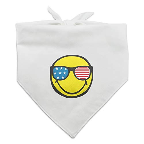 Graphics and More Smiley Smile American Flag Patriotic Glasses Happy Yellow Face Dog Pet Bandana - White