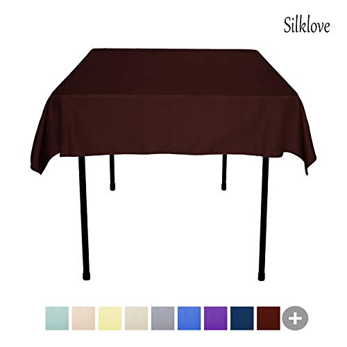 - SilkLove Tablecloth - 54 x 54 Inch -Chocolate-Square Polyester Table Cloth, Wrinkle,Stain Resistant - Great for Buffet Table, Parties, Holiday Dinner & More