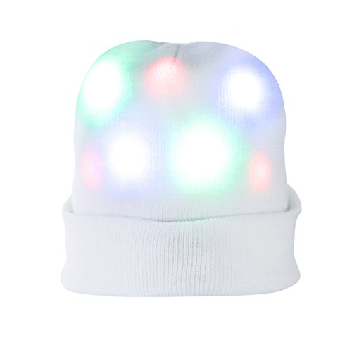 Wholesale Costume Top Hats (Light up Hat, DAXIN DX Unisex 7 LED Knitted White Flashing Beanie Hat Cap Costume for Party, Lightshow, Jogging, Walking, Bicycling, Christmas, Gifts)