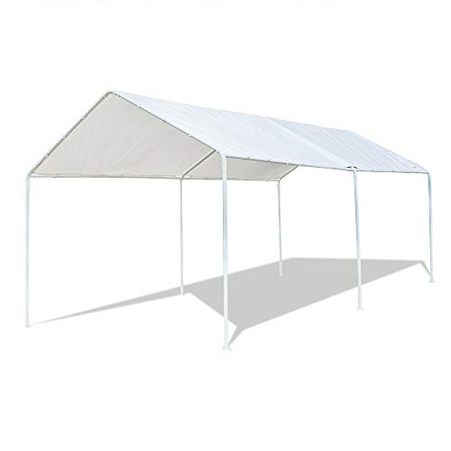 VINGLI 10'x20' Domain Carport Car Canopy, Upgraded Steady Metal Steel 6 Legs, ISO Anti UV Waterproof Panels Versatile Garage Vehicle Sunshine Shelter,Outdoor Party Tent Garden Gazebo, White