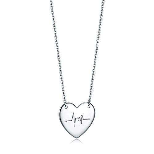 Essie Odila 14K Platinum Plated Sterling Silver Heartbeat Pendant Necklace 18