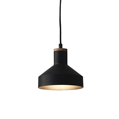 Natural Iron Finish Pendant Light (Light Society Vedder Mini Pendant Light, Matte Black with Natural Wood Accent, Vintage Modern Farmhouse Lighting Fixture (LS-C144))