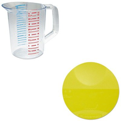 KITRCP3216CLERCP5722YEL - Value Kit - Rubbermaid Round Storage Container Lids (RCP5722YEL) and Rubbermaid-Clear Bouncer Measuring Cups 1 Quart ()
