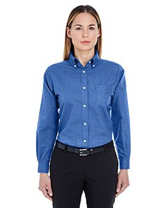 UltraClub Women's Classic Wrinkle-Free Long Sleeve Oxford Shirt, French Blue, ()