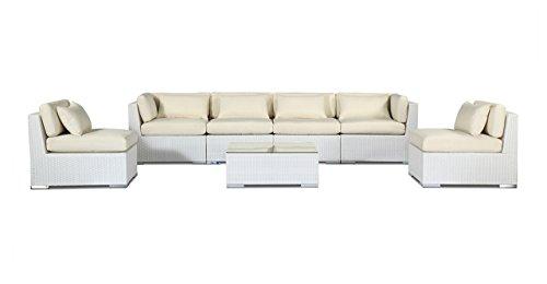 r Patio Furniture Modern Outdoor Sofa Sectional Modify-It Aloha Waikiki 7 Piece Set, Ivory (Ivory Wicker Ottoman)