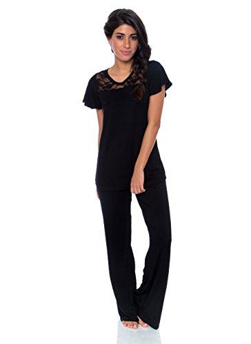 Kathy Ireland Womens 2 pc Cap Sleeve Pajama Set Black with Lace Detailing M