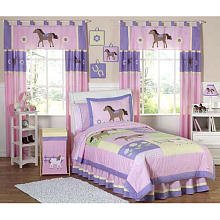 Sweet Jojo Designs 4-Piece Pretty Pony Horse Children's Bedding Girls Twin Set ()