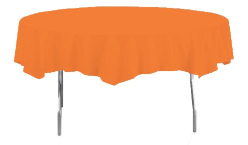 Creative Converting Octy-Round Plastic Table Cover, 82-Inch, Sunkissed Orange ()