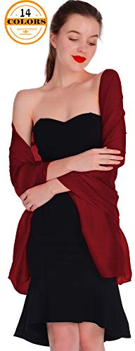 Weddings Evening Scarfs,Sheer Glitter Piano Shawl Wrap for Evening Dress Burgundy Shawl Scarves