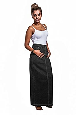 USKEES Jessica Long Denim Skirt - Black Maxi Jean Skirt US Size 8-20