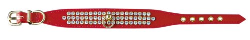 Pet Supply Imports Red Tahoe 1-Inch Vinyl Collar with 3 Rows of Rhinestones, Dog Collar, 12-Inch