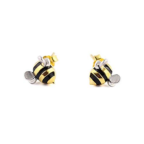 1 Pair Womens Earings S925 Sterling Silver Cute Little Bee Studs Earrings Girls Animal Earrings