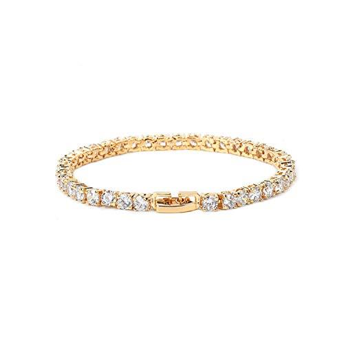 QIUHUAXIANG Iced Zircon Tennis Chain Bracelet Men Hip hop Copper Gold Silver Rose Color Box Clasp 18.5cm,5MM Silver,18CM