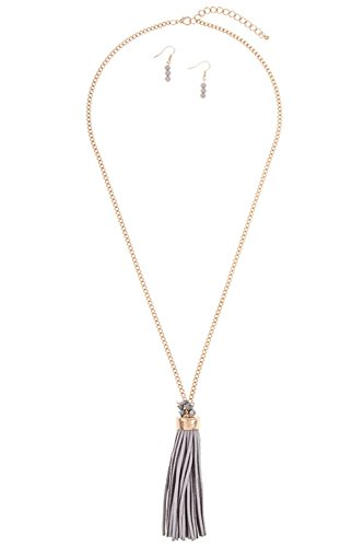GlitZ Finery Elongated Chunky Drop Faux Suede Tassel Cluster Gem End Necklace (Gray)