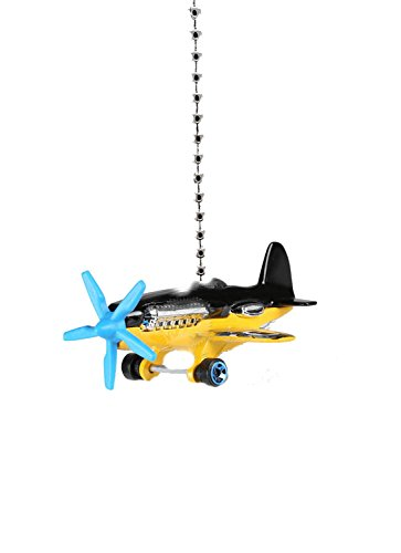 Airplane Aeroplane Biplane Ceiling Fan Light Pull Chain Ornaments 1/64 (Black Yellow AIRPLANE)