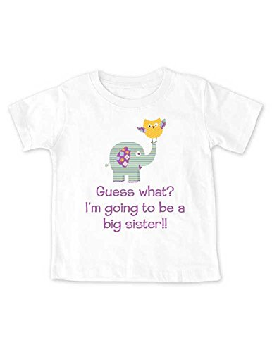 Guess what? I'm going to be a big sister!! elephant owl - Baby birth pregnancy announcement Shirt (18 Months Infant Shirt, - 14 The Brand Guess