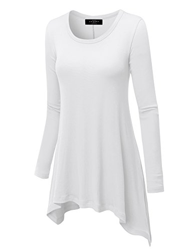Made By Johnny WT953 Womens Round Neck Long Sleeve Rib Trapeze Tunic Top M White