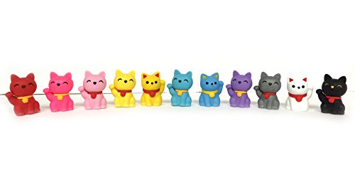 Iwako Japanese Pencil Erasers - 12pcs Lucky Cat  - Limited E