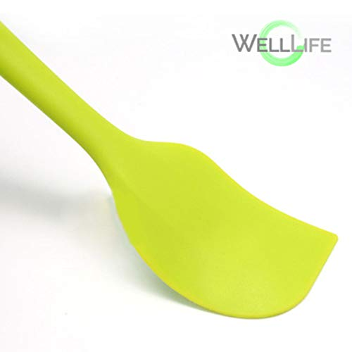 WELL LIFE High Heat Resistant Silicone Spatula Set Pastry Brush Set BPA-Free Seamless Non-Stick, Solid Stainless Steel Core, Cooking/Baking Utensil Boxed 6 - Green - US Based Silicon Spatulas