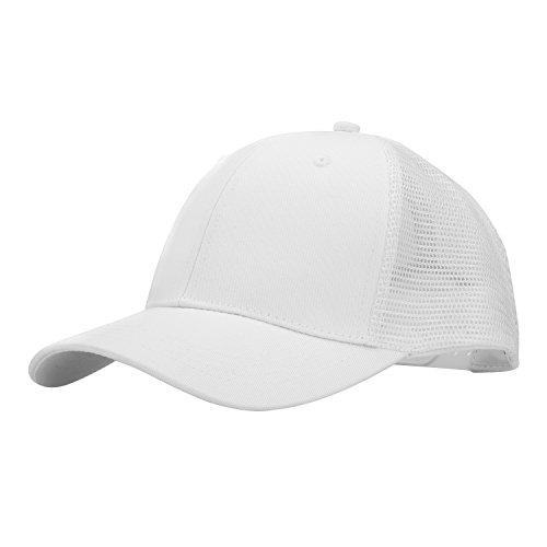 (PT FASHIONS Adjustable Cotton Baseball Cap Unisex Outdoor Sport Low Profile Trucker Mesh Cap-02white)