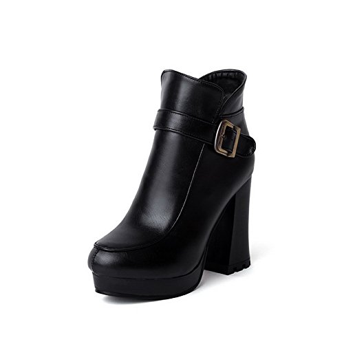 AgooLar Women's Solid High Heels Zipper Round Closed Toe Boots with Metal Buckles Black