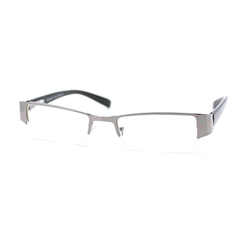 Magnified Reading Glasses Rectangular Half Rim Spring Hinge Frame Silver - Rims Reading Silver