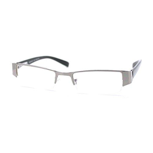 Magnified Reading Glasses Rectangular Half Rim Spring Hinge Frame Silver - Women Rim Half Glasses
