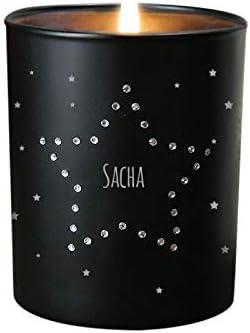 Bougie gravée personnalisable, incrustée de cristaux Swarovski® - Bougie  parfumée à la vanille, noire, 35h de combustion - Etoile - Idée cadeau ...