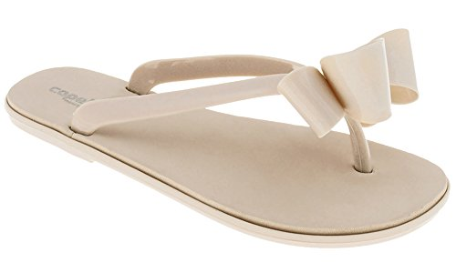 Capelli New York Jelly Bow & String Dames Flip Flop Op Een Stevige Sok Nude