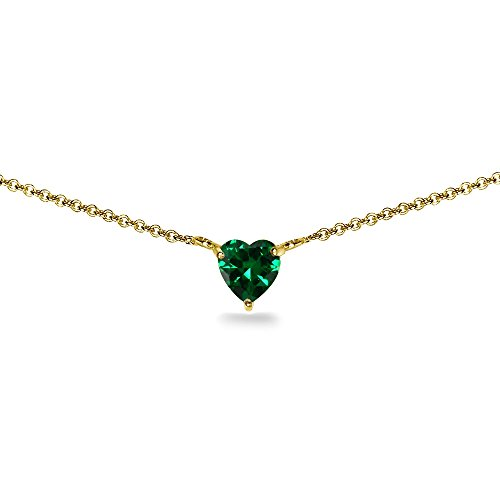 Yellow Gold Flashed Sterling Silver Simulated Emerald 7x7mm Heart Dainty Choker Necklace ()