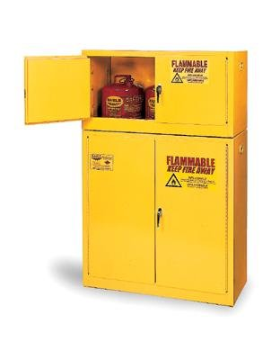 - Eagle 45 Gallon Yellow Two Shelf With One Door Self-Closing Flammable Safety Storage Cabinet