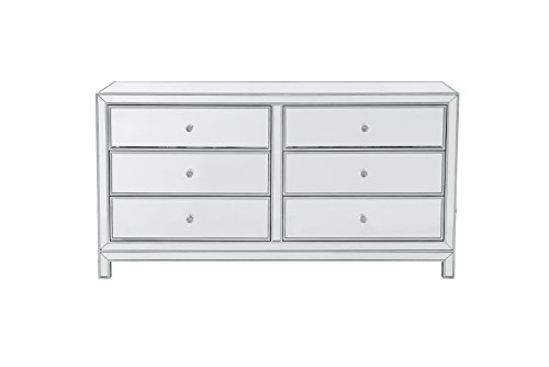 Hand Painted Six Drawer Chest - Decor Central ADMFX7-6108 Drawers and Rectangle Mirror Top Dresser with 6, 60