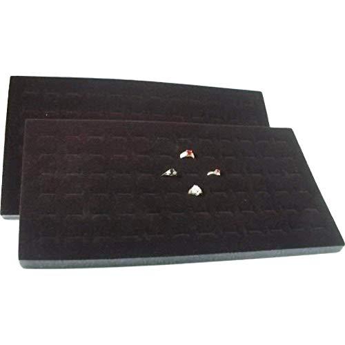 Jewelry Black Slot 72 - 888 Display USA 2 Pieces 72 Slot Black Jewelry Travel Ring Inserts Display Pads (Black, 2)