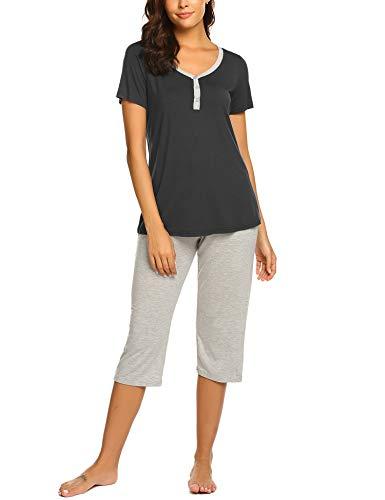 Ekouaer Pjs Women's Sleepwear Set 2 Piece Top with Capri Pants Pajama Set Black ()