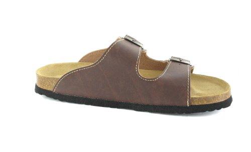 Bioped Unisex Pantoletten - Kreta - Dunkelbraun Schuhe in Übergrößen