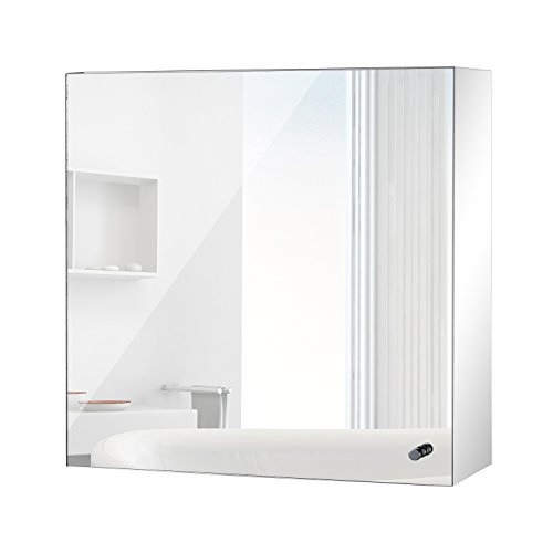 High Quality HomCom 16u201d X 16u201d Stainless Steel Bathroom Mirror / Medicine  Cabinet