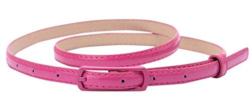 Selighting Women's Solid Color Faux Leather Skinny Belts for Dresses (One Size, Rose)]()