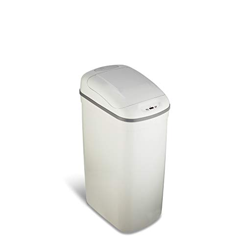 NINESTARS DZT-33-1GY Automatic Touchless Infrared Motion Sensor Trash Can, 8 Gal 33L, ABS Plastic Base (Rectangular, Grey Lid)