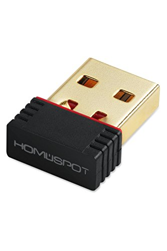 HomeSpot 150Mbps Wireless N WiFi USB Nano Adapter, Network LAN Card 802.11n, for Raspberry Pi/Windows XP/ Vista/Win7/Linux/Mac OS