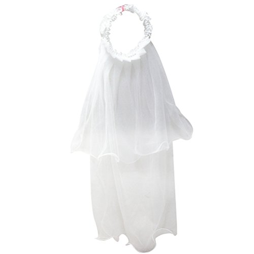 LUOEM Girls First Communion Veils Flower Crown Headpiece Lace with Pearl Girl Floral Headband Veils Wreath Wedding Hair Accessories(White) ()