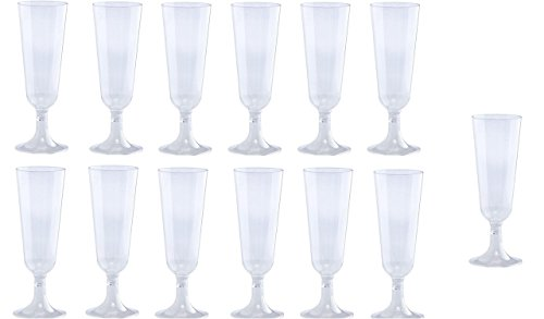 30 piece Champagne Flutes 5 oz Clear Hard Plastic Disposable Glasses, Perfect for Mimosas, Bloody Mary's, Wine Glasses, Sodas, Cocktail Cups, Parfaits, Sundaes and other Desserts