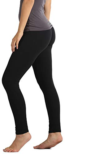 Conceited Ultra Soft High Waisted Leggings for Women - Opaque Full Ankle Length - Black - Plus Size (12-22)